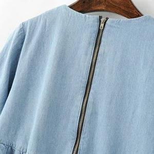 Chic Round Neck Flare Sleeve Flounced Denim Women's Blouse -