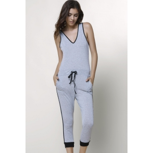 Active V-Neck Sleeveless Drawstring Jumpsuit - GRAY L