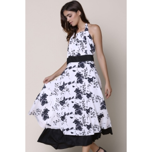 Floral Halter Backless Swing Casual Dress - WHITE/BLACK S