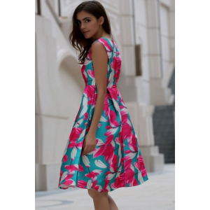 Stylish Slash Neck Flower Print Sleeveless Dress For Women - GREEN M