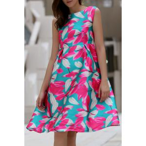 Stylish Slash Neck Flower Print Sleeveless Dress For Women