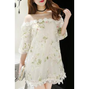 Elegant Jewel Neck 3/4 Sleeve Floral Print Belted Organza Dress For Women -
