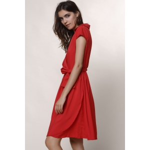 Turndown Collar Crossover Midi A Line Dress -
