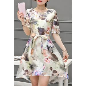 Elegant Scoop Neck 1/2 Sleeve Floral Print Belted Organza Dress For Women