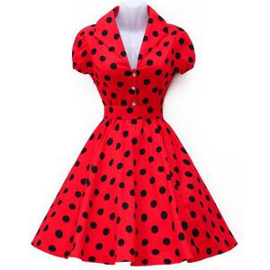 Vintage Turn-Down Collar Polka Dot Print Big Hem Swing Dress