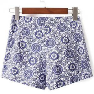 Casual High-Waisted Printed Zippered Women's Shorts -