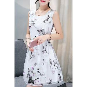 Elegant Scoop Neck  Sleeveless Floral Print Belted Organza Dress For Women
