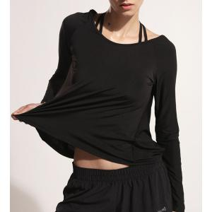Sporty Scoop Neck Long Sleeve Backless Black Gym Top For Women -