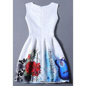 Cute Round Neck Floral Print Flared Women's Dress - BLUE XL