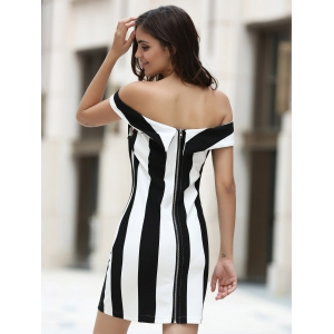 Elegant Off-The-Shoulder Striped Bodycon Mini Dress For Women -