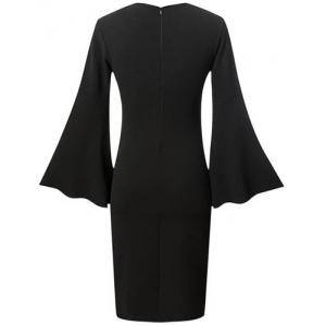 Chic Plunging Neck Flare Sleeve Black Women's Dress -