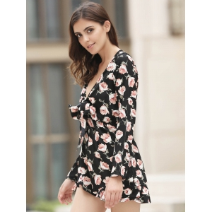 Plunging Neck Floral Flowy Playsuit - BLACK AND PINK S