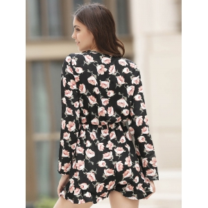 Plunging Neck Floral Flowy Playsuit -