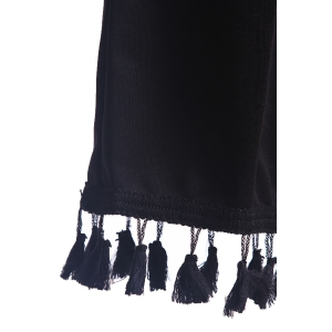 Stylish Spaghetti Strap Solid Color Fringed Women's Dress -