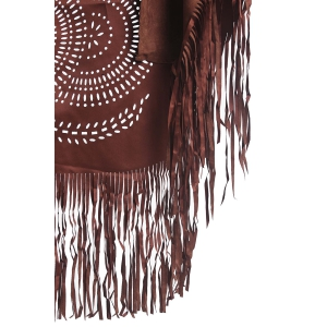 Stylish Half Sleeve Hollow Out Fringed Women's Blouse -