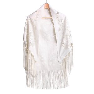 Stylish Half Sleeve Hollow Out Fringed Women's Blouse