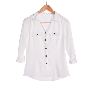 Stylish Turn-Down Collar White Single-Breasted Long Sleeve Blouse For Women - White - M