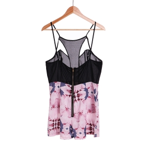 Sexy Strappy Hollow Out Floral Print Romper For Women - BLACK L