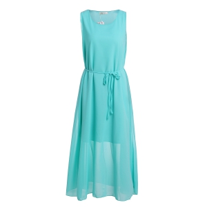 Stylish Scoop Neck Sleeveless Solid Color Women's Maxi Dress -