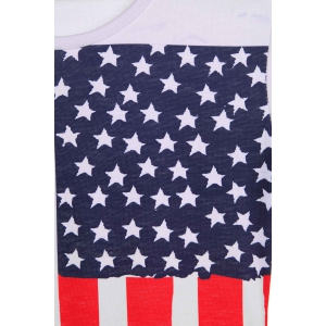Sexy Scoop Neck Flag Print Short Sleeve Dress For Women -