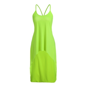 Stylish Spaghetti Strap Solid Color Backless High Low Tank Top For Women - Neon Green - L