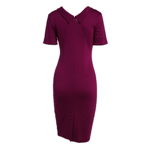 Elegant Flat Collar Solid Color Short Sleeve Bodycon Dress For Women - PURPLE XL