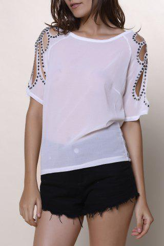 Discount Stylish Scoop Collar Short Sleeve Cut Out Women's T-Shirt WHITE M