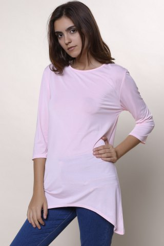 Fashion Sweet Round Neck High Low Hem Solid Color 3/4 Sleeve T-Shirt For Women - M PINK Mobile