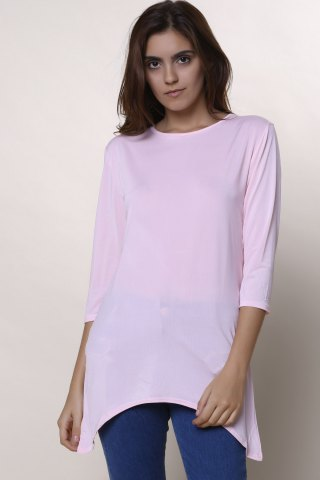 Hot Sweet Round Neck High Low Hem Solid Color 3/4 Sleeve T-Shirt For Women - M PINK Mobile
