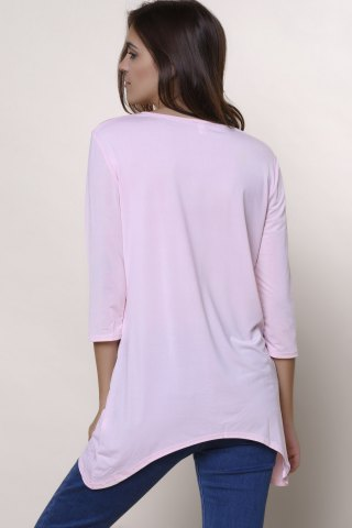 Fancy Sweet Round Neck High Low Hem Solid Color 3/4 Sleeve T-Shirt For Women - L PINK Mobile