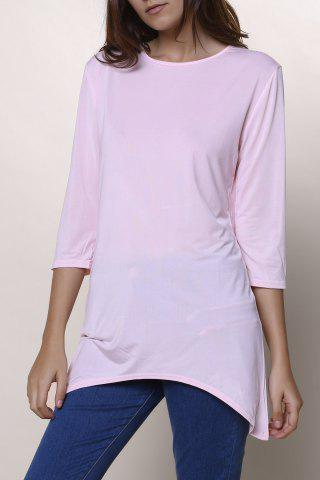 Hot Sweet Round Neck High Low Hem Solid Color 3/4 Sleeve T-Shirt For Women - L PINK Mobile
