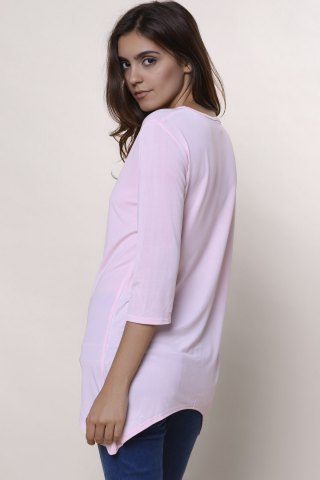 Sale Sweet Round Neck High Low Hem Solid Color 3/4 Sleeve T-Shirt For Women - L PINK Mobile