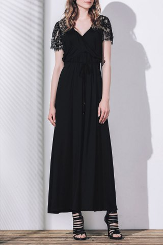 Best Plunging Lace Insert Maxi Prom Dress with Sleeves BLACK 2XL