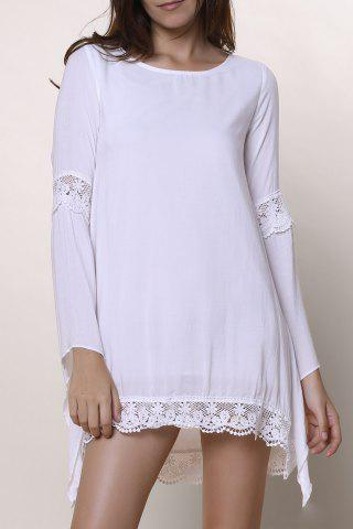 Fashion Long Sleeve Shift Crochet Dress with Lace WHITE S