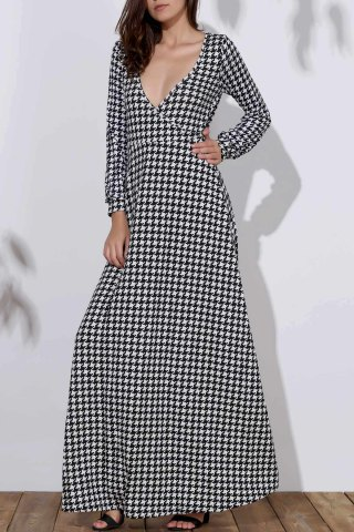 Store Long Sleeve Deep Plunging Neck Dress CHECKED L