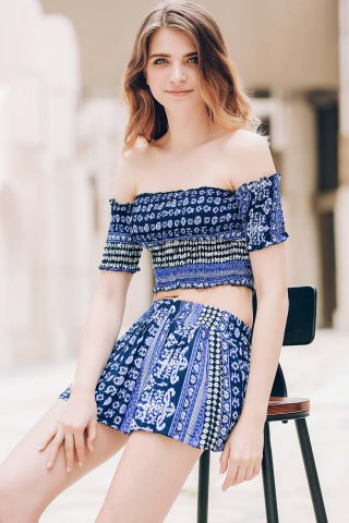 Hot Sexy Off-The-Shoulder Short Sleeve Printed Crop Top + Elastic Waist Shorts Twinset For Women - XL BLUE Mobile