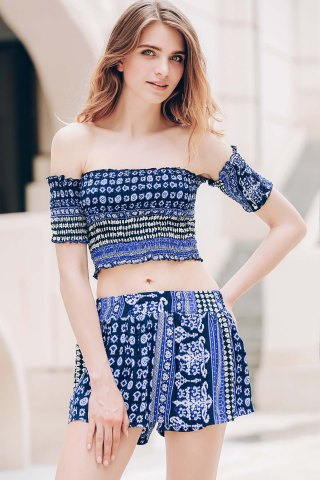 Buy Sexy Off-The-Shoulder Short Sleeve Printed Crop Top + Elastic Waist Shorts Twinset For Women - XL BLUE Mobile
