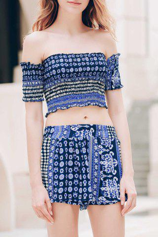 Store Sexy Off-The-Shoulder Short Sleeve Printed Crop Top + Elastic Waist Shorts Twinset For Women BLUE XL
