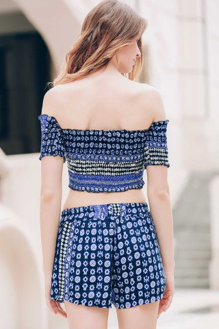 Hot Sexy Off-The-Shoulder Short Sleeve Printed Crop Top + Elastic Waist Shorts Twinset For Women - M BLUE Mobile