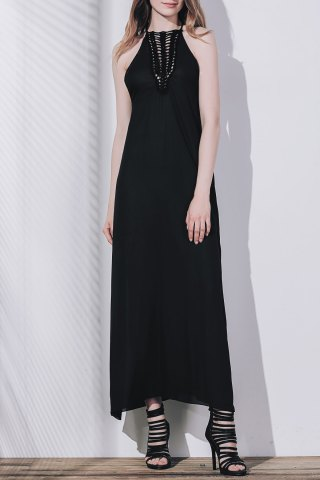 Fashion Crochet Panel Side Split Maxi Evening Dress