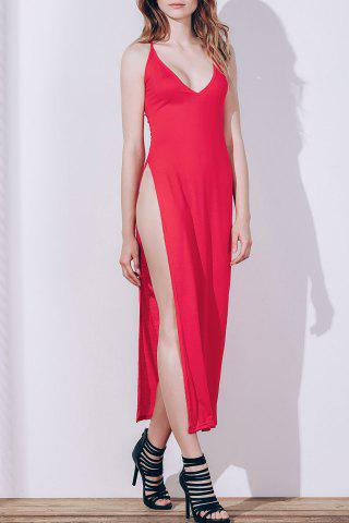 Robe Maxi High Slit Backless Slip Club