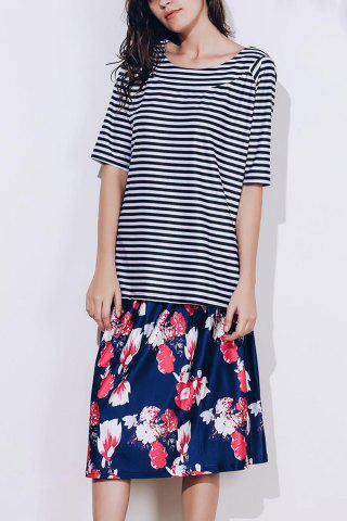Discount Elegant Scoop Neck Striped T-Shirt and Floral Printed Skirt Twinset For Women COLORMIX M