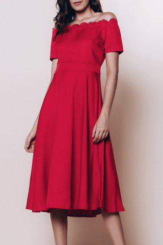 Fashion Off The Shoulder Short Sleeve Cocktail Dress RED S