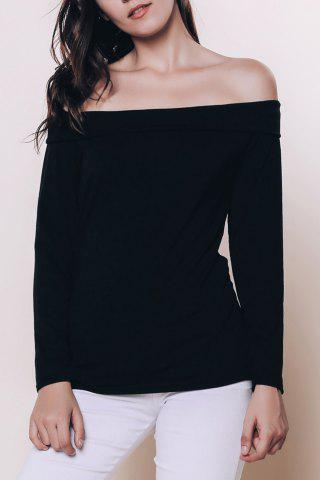 Shop Sexy Off The Shoulder Black Long Sleeve T-Shirt For Women BLACK S