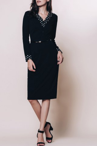 New OL Style Turn-Down Collar Long Sleeve Polka Dot Spliced Women's Pencil Dress