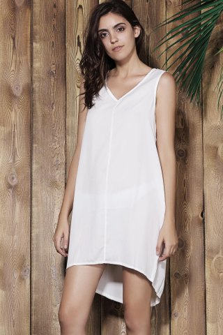 Unique Simple V-Neck Sleeveless White Loose-Fitting Women's Dress - L OFF-WHITE Mobile