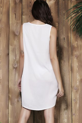 Fashion Simple V-Neck Sleeveless White Loose-Fitting Women's Dress - L OFF-WHITE Mobile