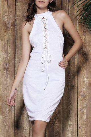 Outfit Sexy Halter White Self-Tie Hollow Sleeveless Dress For Women WHITE S
