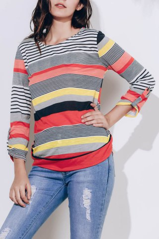 Casual Scoop Neck 3/4 Sleeve Loose-Fitting Striped Women's T-Shirt - RED M