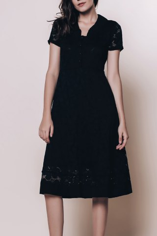 Vintage Style V-Neck Short Sleeve Black Lace Women's Dress - Black - 2xl